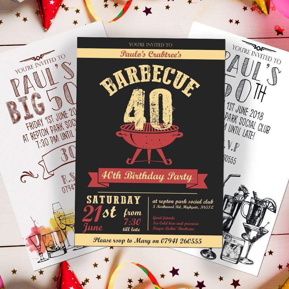 BBQ Personalised Birthday Invites 18th 21st 30th 40th 50th 60th Invites