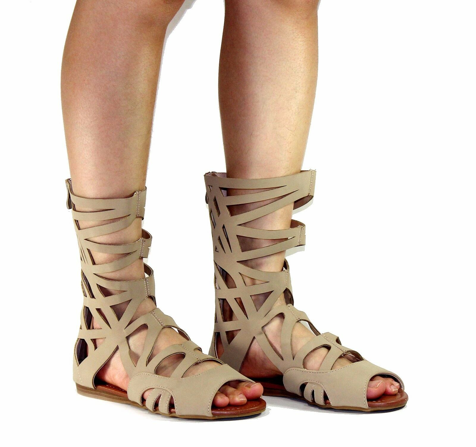 sonia-83 New Sandals Zipper Shoes Gladiator Party Beach Casual Women's Shoes Zipper Taupe cd4dcd