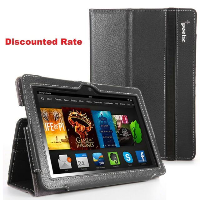 Amazon Kindle Fire HDX 7 Inch 2013 & 2014 Poetic SlimBook Stand Cover Case Black