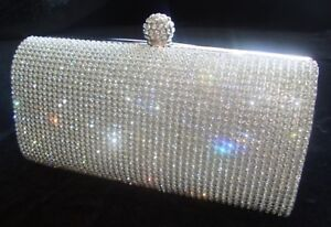 ada809f9626172 Image is loading Silver-Diamante-Diamond-Crystal-Evening-bag-Clutch-Purse-