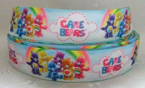 1 m x CARE BEARS GROS-GRAIN ruban 22 mm craft cake Dummy Clip Papier Cadeau