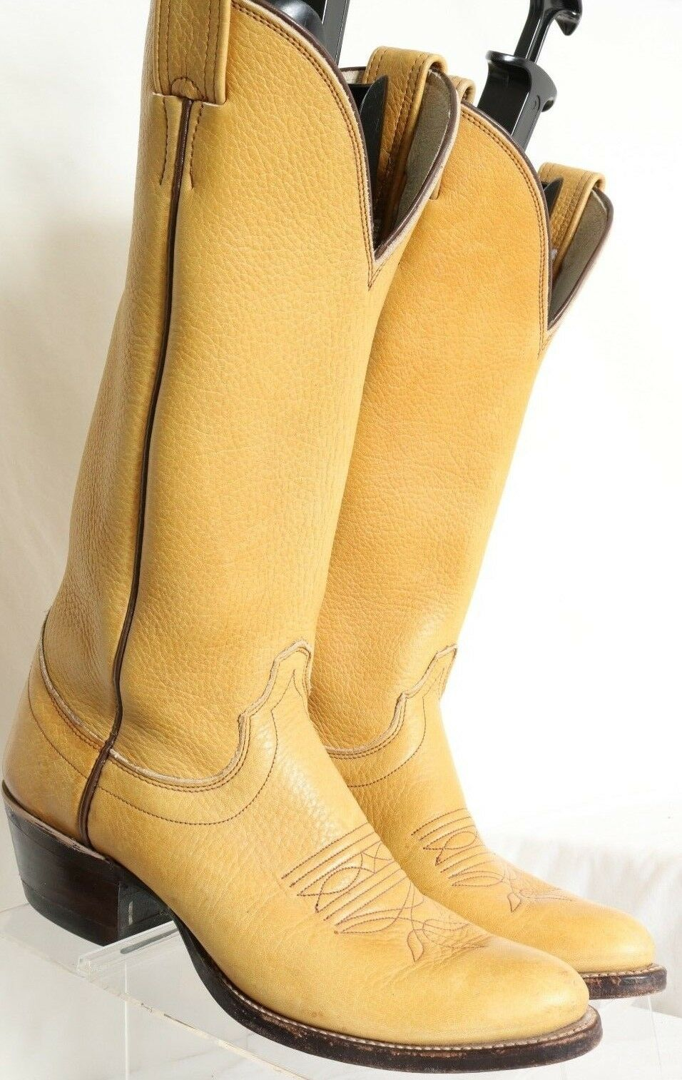 Olathe Vintage Tall Polo Yellow Tan Western Cowboy Boots 101230 Men's US 7.5 B