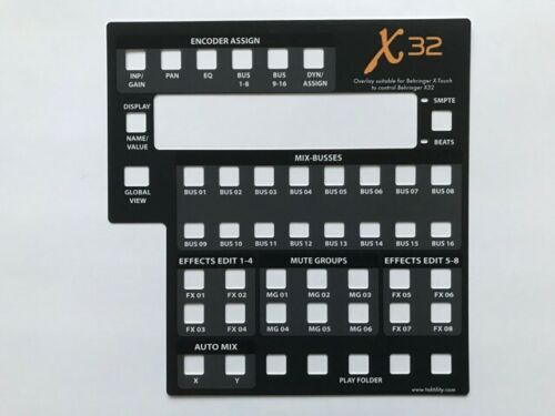 Overlay für Behringer X-Touch zur Steuerung von Behringer X32