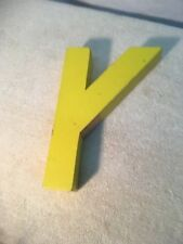 Letter Y Big Vtg Wood Block Type Italic Font 8in X 5in X 15in Yellow