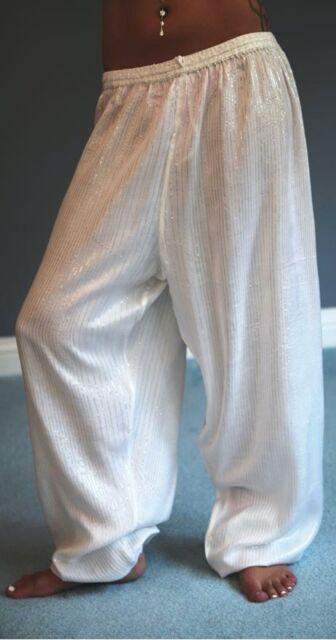 WHITE COTTON HAREM PANTS FOR BELLY DANCE, GYPSY BOHO BEACH YOGA, ELASTIC WAIST