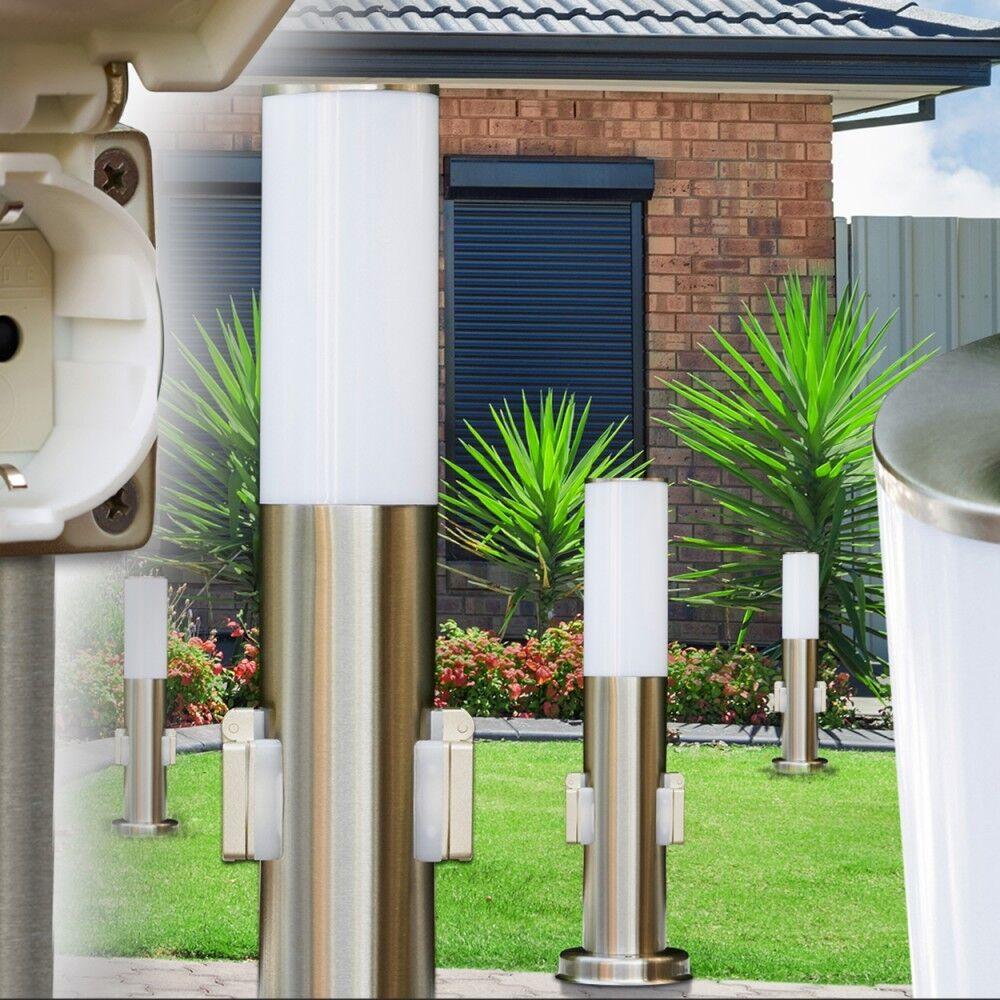 Zócalo lámpara con 2 enchufes acero inoxidable caminos lámpara exterior de pie lámpara de jardín