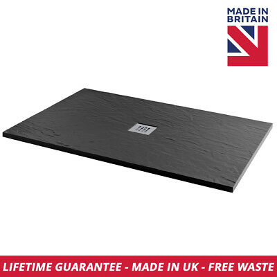 Luxury Slate Effect Rectangle 1700mm x 750mm Shower Tray In Black Free Waste