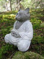 Cat Buddha Statue, White Robed, Gray Cat Buddha, Meditating Cat, Zen Garden Deco