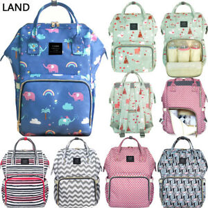 Image is loading US-LAND-Multifunctional-Mom-Diaper-Bags-Mummy-Backpack- 7c4211d9a