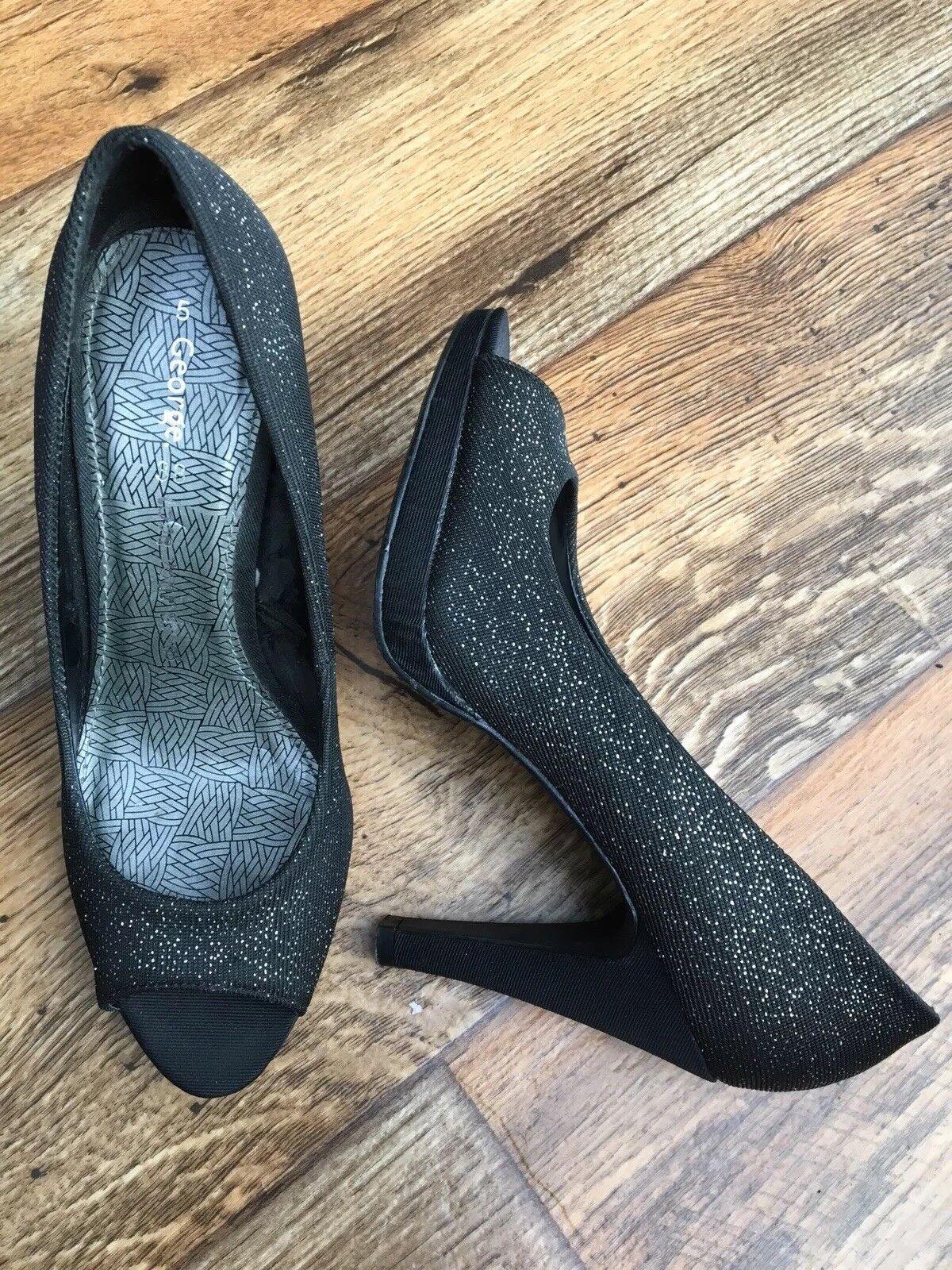 GEORGE Ladies Black Sparkle/Shimme<wbr/>r Peep Toe Shoes UK 5 EUR 38