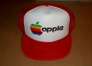 Image is loading Apple-Computer-Rainbow-Apple-Logo-Hat-RED-Black- 073701cf135
