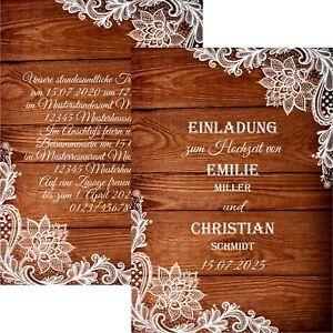 Einladungskarten Hochzeit Vintage Spitze Hochzeitskarten Mit Druck