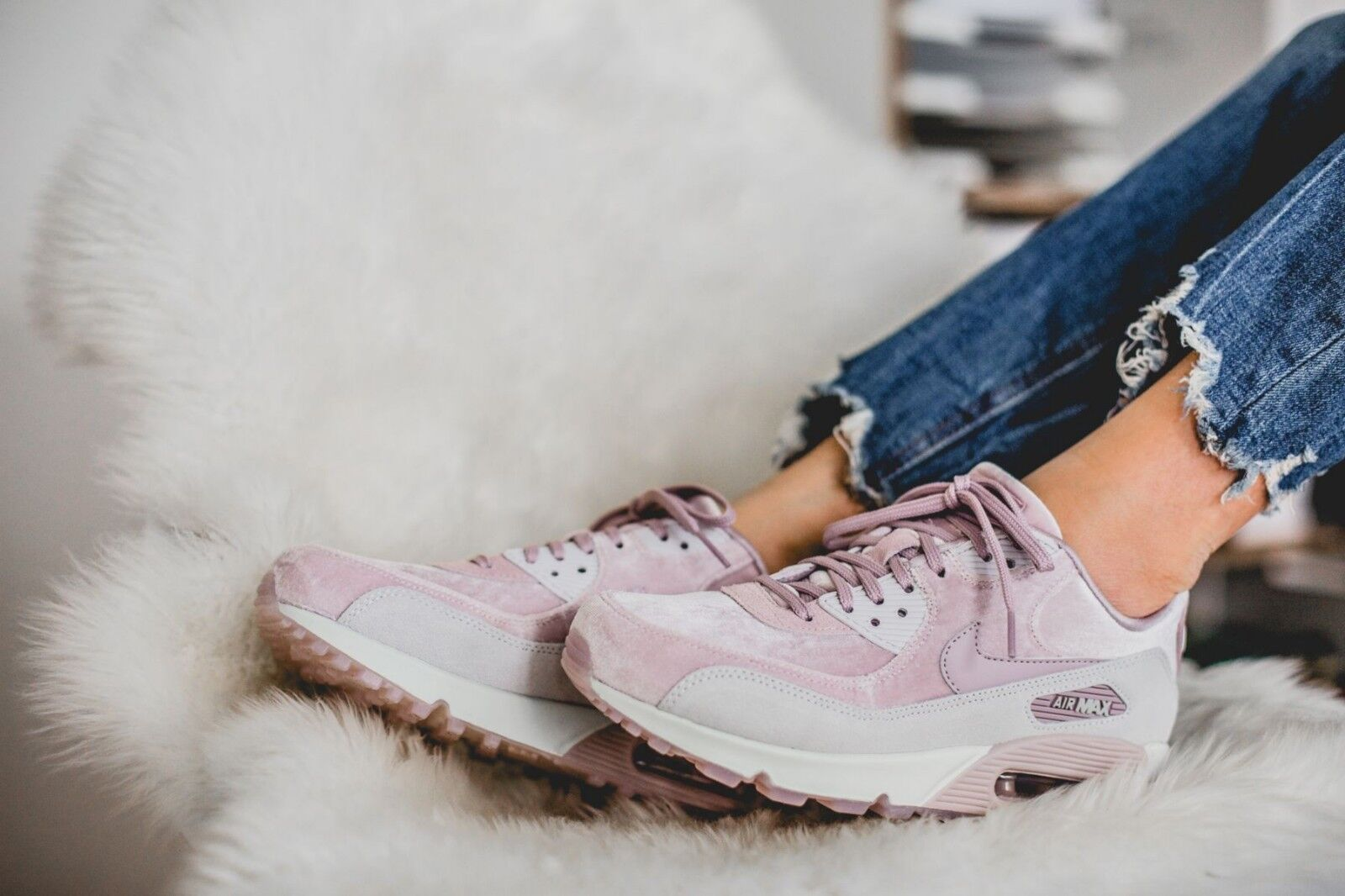 Nike air max 90 lx 898512 600 (velvet / greves) di rose wmn sz - 9