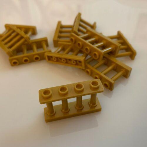 "15332//6060803 10 NEW LEGO Warm Gold 4 Knobs Fence 1X4X2 W /""Pearl Gold/"""