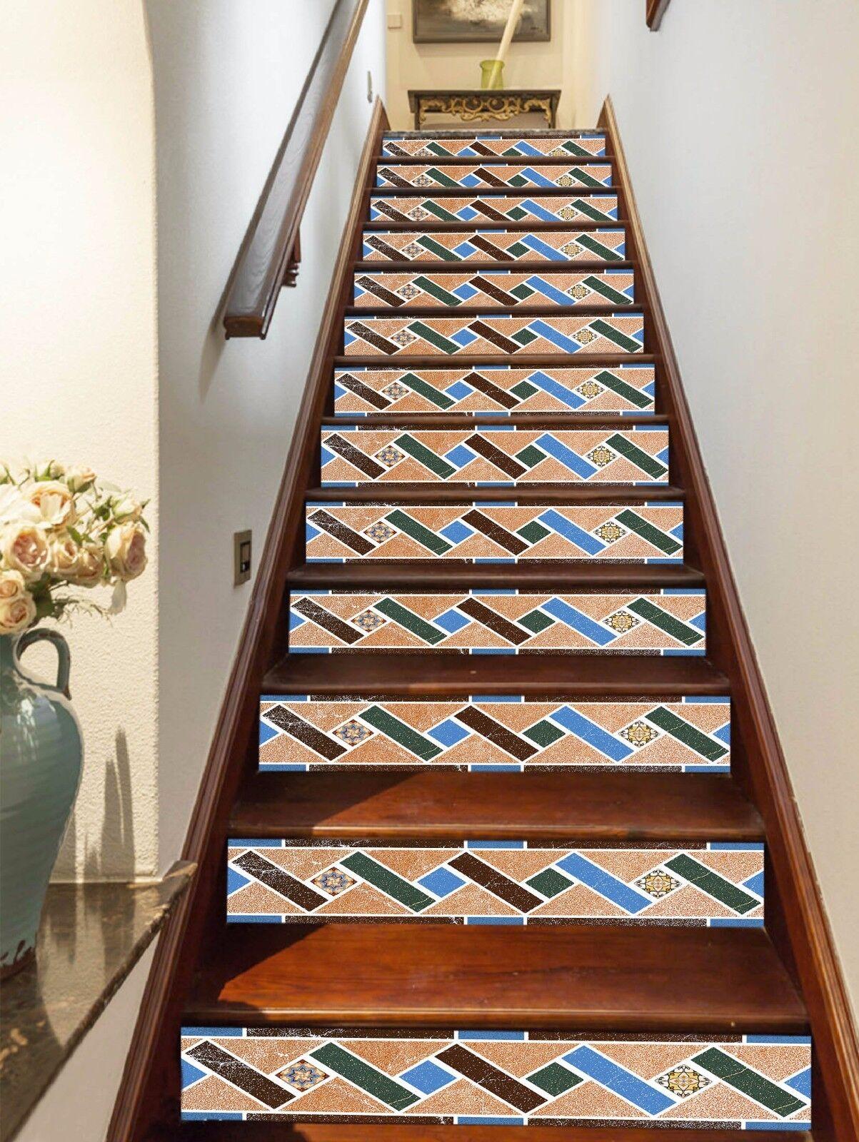 3D Gitter 443 Stair Risers Dekoration Fototapete Vinyl Aufkleber Tapete DE Lemon