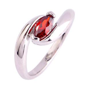 Delicate-Solitare-Garnet-Gemstones-Silver-Ring-Marquise-Women-Wedding-Jewelry