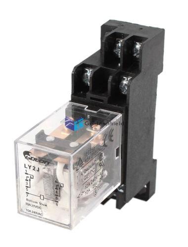 DIN Rail DPDT 8 Pins General Purpose Power Relay Coil w Socket 35mm AC24V