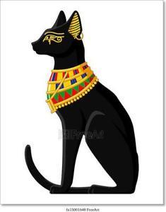 Home Decor Poster Wall Art Egyptian Cat Art//Canvas Print
