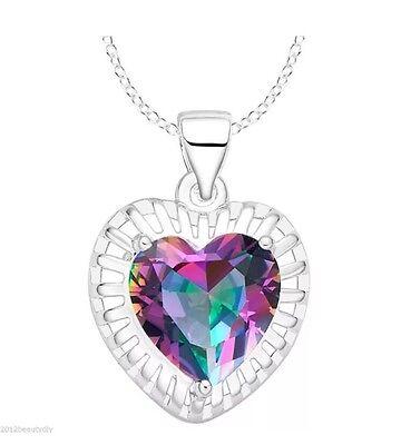 14K White Gold Plated Mystic Rainbow Topaz Crystal Rhinestone Heart Necklace 2