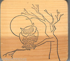 Rubber Stamp A11-K Owl in tree full moon, Fall, Harvest, New S19