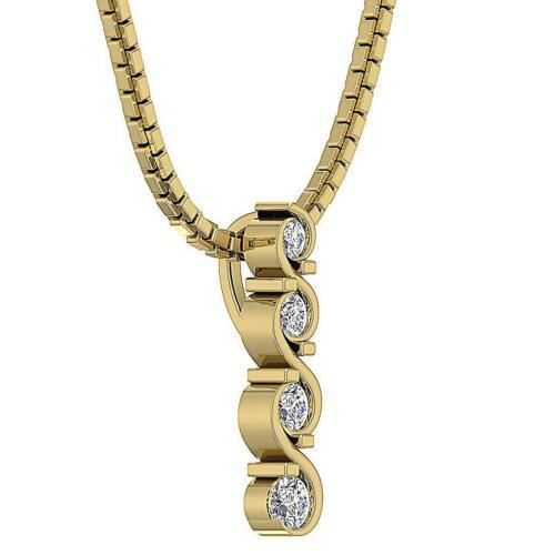 VS1 E Journey Pendant Necklace 0.25 Ct Round Cut Diamond 14K White Yellow Gold