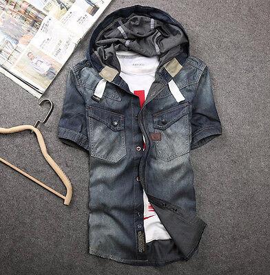 Fashion Retro Men's Short Sleeve Hooded Jeans Shirt Slim Fit Casual Coat Jacket