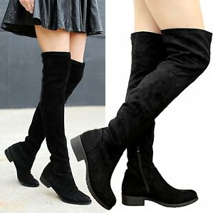 Ladies-Women-Thigh-High-Over-The-Knee-Boots-Stretch-Lace-Up-Low-Heels-Shoes-Size