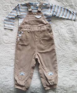 Ollie-039-s-Place-Beige-Corduroy-Monkey-Overalls-w-Striped-Bodysuit-Size-1