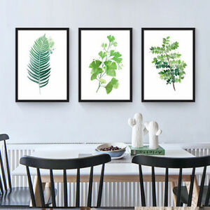 Details About Modern Watercolor Green Plant Leaves Canvas Painting Art Print Poster Wall Decor