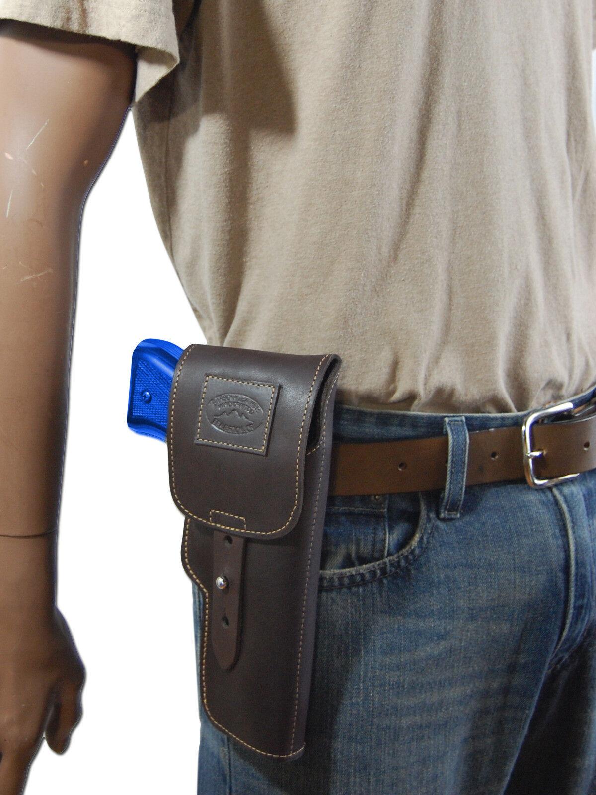 Nuevo barsony Marrón De Cuero Con Solapa Funda Pistola Pistola Pistola Para Fn Glock Hk de tamaño completo de 9 mm 40 45 de69b6