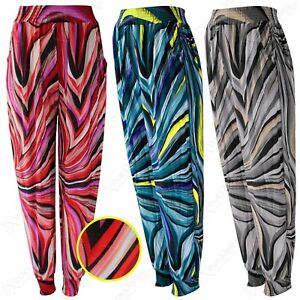 NEW-LADIES-WAVES-PRINTED-HAREM-CASUAL-TROUSERS-WOMENS-LOOSE-TRAVEL-LOUNGE-PANTS