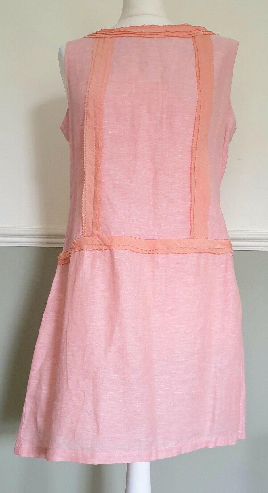Coral Pink 100% Linen Shift Dress Sleeveless Anany UK 14 Summer Holiday Wedding