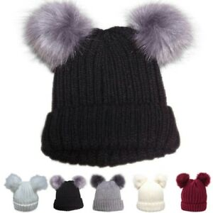 Winter Thick Knitted Wool Hat With Two Fur Pom Pom Women s Beanie ... cee75105a1