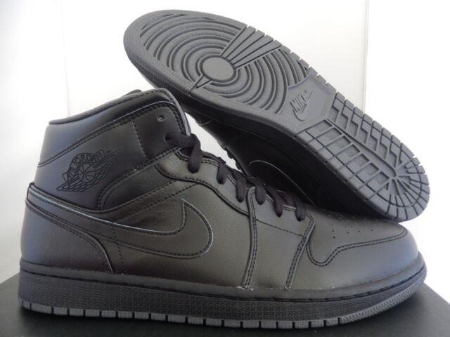 36bec246d4f6 Nike Mens Sz 11 Air Jordan 1 Mid Black Basketball Casual Shoe 554724 ...