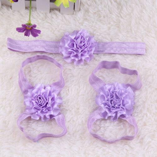 New 3pcs Foot Flower Barefoot Sandals Babies Elastic Hair Infant Headbands