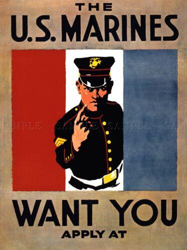 PROPAGANDA RECRUIT US MARINES MILITARY WAR ART POSTER PRINT PICTURE LV7067