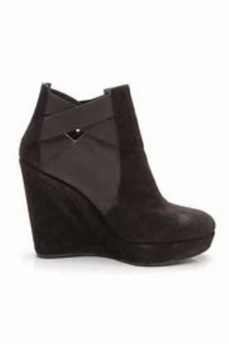 Stuart Weitzman Black Suede Hiyola Platform Wedge Ankle Boots/Booties Size 9.5