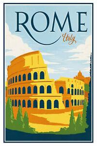Rome-Roma-Italia-Letrero-de-Metal-Arqueado-Tin-Sign-20-X-30cm-CC0412