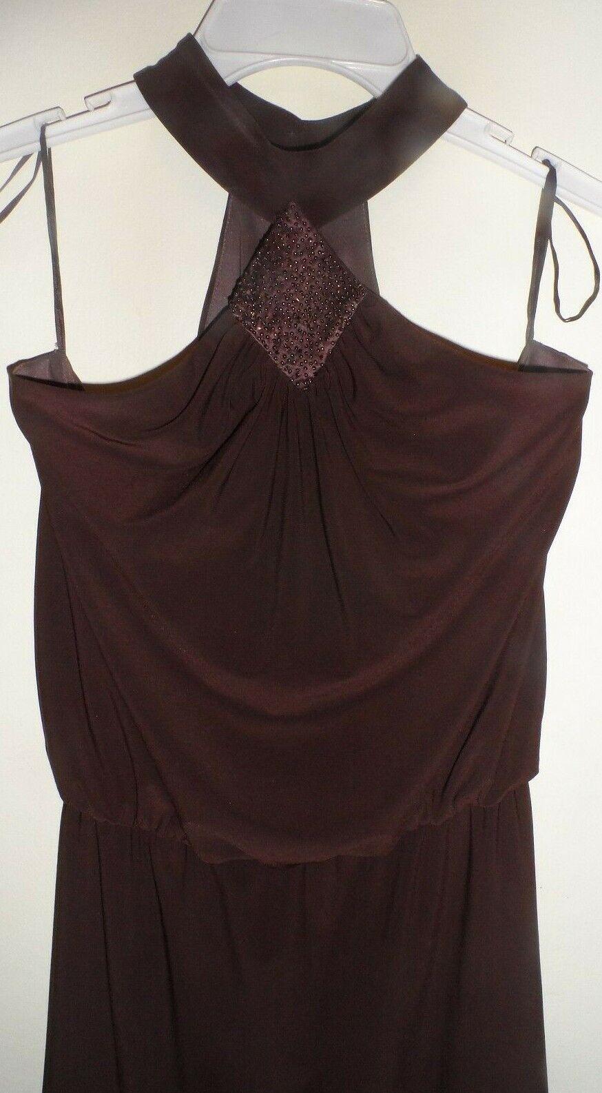 NINE WEST Brown Beaded Off Shoulder Asymmetrical Dress Size 6