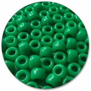 057-Barrel-Pony-Beads-Green-Opaque