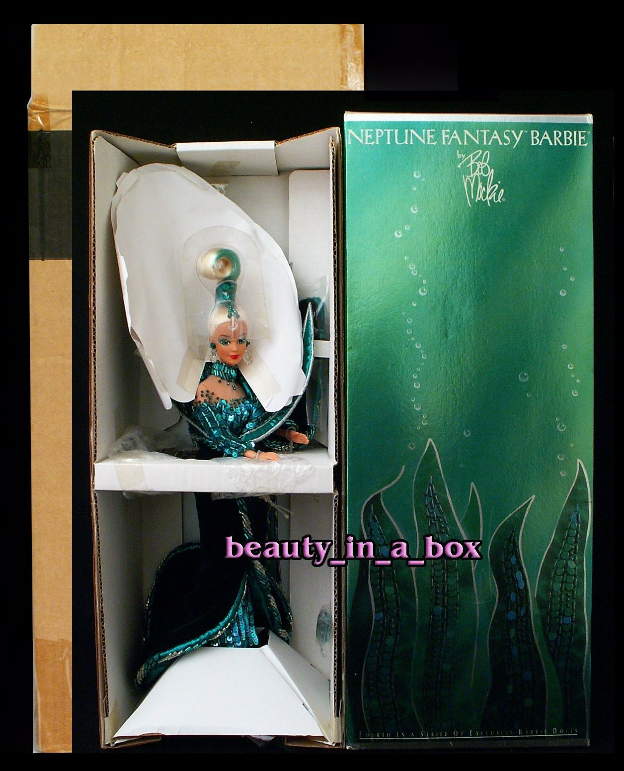 Muñeca Barbie Fantasía Neptuno embarcador Bob Mackie Diseño Dibujo Atemporal Creations