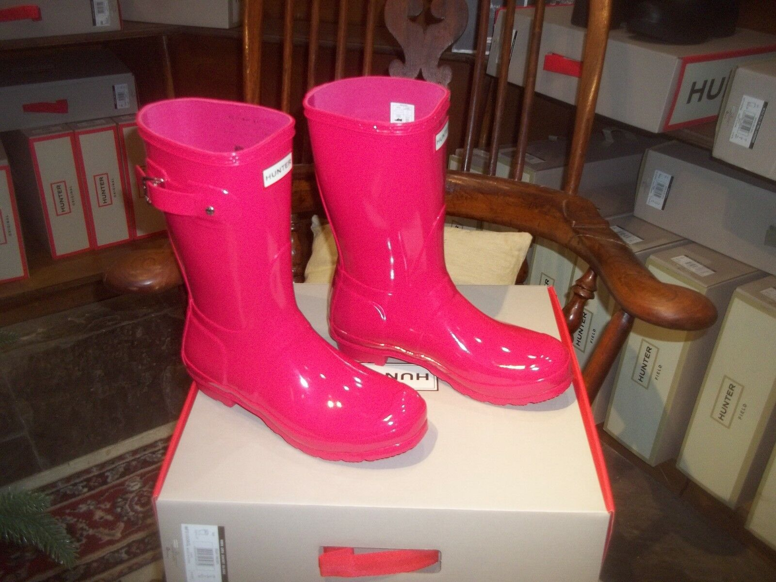 GLOSS HUNTER WELLIES WELLINGTONS  IN HBLIFBX SIZE 6 BRIGHT  PINK  SHORT WOMENS