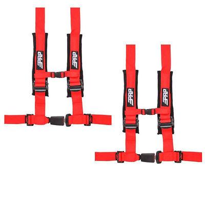 "PRP 4 Point 2/"" Harness Seat Belt Automotive Style Latch Black RZR XP Turbo Pair"