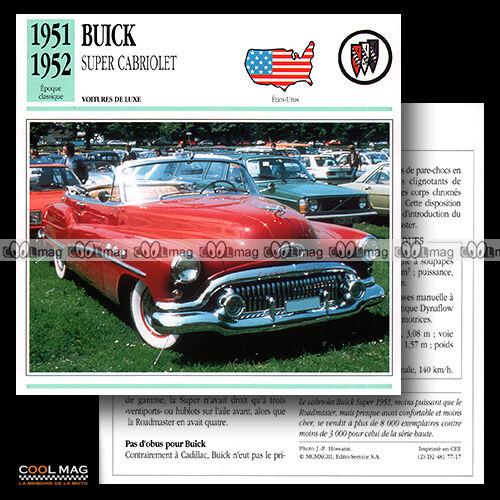 Fiche Auto Classic Car card 1951-1958 #077.17 BUICK SUPER CABRIOLET