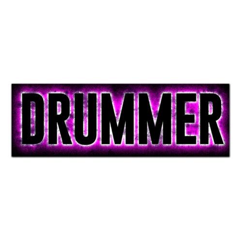 "Vinyl Vehicle Car Decal 3/""x9/"" DRUMMER Bumper Sticker Glow Grunge Many Colors"