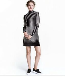 4ffc937ebd8 H M Women s Mock Neck Striped Long Sleeve Ribbed Dress Size S