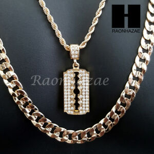 Men iced out gold barber razor blade charm cut 30 cuban link chain image is loading men iced out gold barber razor blade charm altavistaventures Image collections