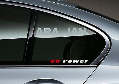 2 V8 POWER Racing Sport Vinyl Decal sticker logo mirror SILVER//RED