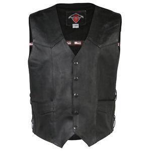 Mens-Black-Quality-4-Pocket-Leather-Motorcycle-Biker-Classic-Waistcoat-600-002