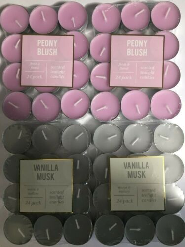 Paquete De 24 Vainilla almizcle /& Peonía Blush Velas Perfumadas candelita conjunto Preciosa!